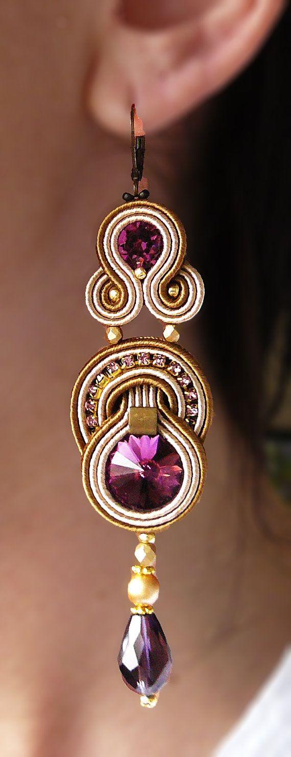 Soutache Earring, Handmade Earring, Hand Embroidered, Soutache Jewelry, Handmade…