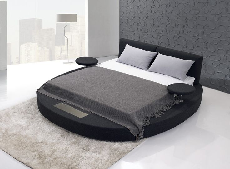 Best Round Frame California King Size Fabric Bed With Mattress 400 x 300