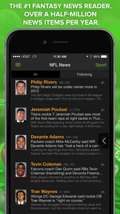 FREE Playerline app gives you instant access to NFL news and real-time fantasy football updates for every player in the NFL. #football #app