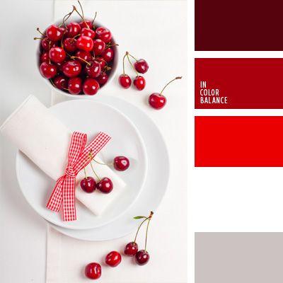 blanco y rojo, color bermejo, color de guindas, color guinda, colores blanco y guinda, colores para la decoración, gris y rojo, paletas de colores para decoración, paletas para un diseñador, selección de colores.