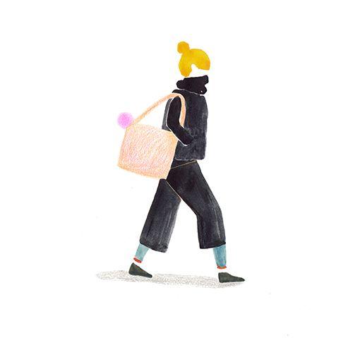 Finnish Girl, Walking at Sunday evening _ Illustration _ Wensi Zhai