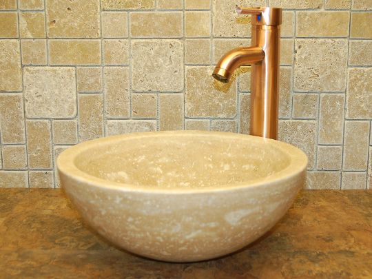 Travertine Sinks   Natural Stone Vessels-Small Vessel Sink Bowl - Honed Beige Travertine