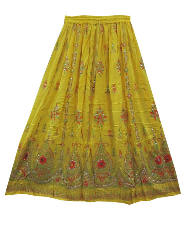 """Sequin Floral Design Yellow Skirt Rayon Long Skirts 36"""""""