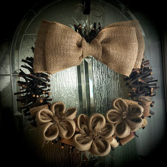 Rustic Twig Wreath with Burlap bow Flowers and by WhyWastetheWine, $25.00