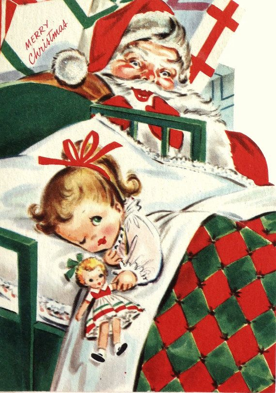 """One Eye Open"" -=- Enchanting Vintage Christmas Card <3"