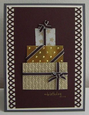 Stamping with Loll:   birthday card made by her son!  (love the different ribbon wraps and the patterned papers)