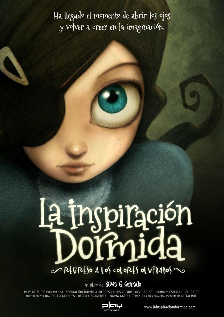 """Cartel promocional del libro """"La Inspiración Dormida"""" con Carmesina de protagonista. ilustración de David G. Forés"""