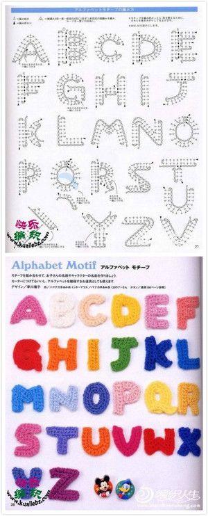 24个字母钩花图纸~给小孩学英语~给男朋友表达爱意也不错哦~ - 堆糖 发现生活_收集美好_分享图片