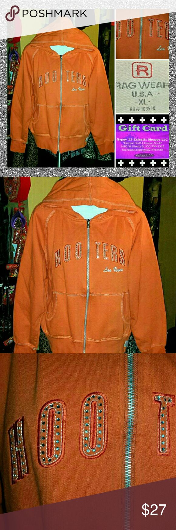 ?? HOOTERS VEGAS HARLEY ORANGE BLING HOODIE JACKET QUALITY & COOL blinged out RHINESTONE HOOTERS LAS VEGAS zip hoodie jacket...its size XL in JR/MISS(So It ll also fit a WOMENS SIZE-MEDIUM ) and its in EXCELLENT nearly new condition Tops Sweatshirts & Hoodies