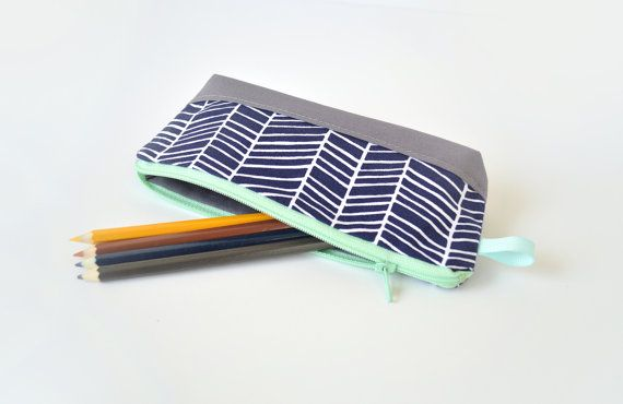 Pencil Pouch, Small Cosmetic Bag in Midnight Blue Herringbone & Mint
