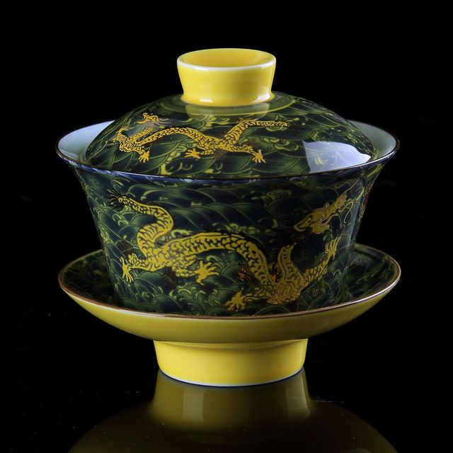 Chinese Tea Set Gaiwan Porcelain,Traditional Dragon Kung Fu Tea Set Tureen Ceramic Wedding Tea Bowl Cup,Gongfu Porcelain Gaiwan #chinesetea