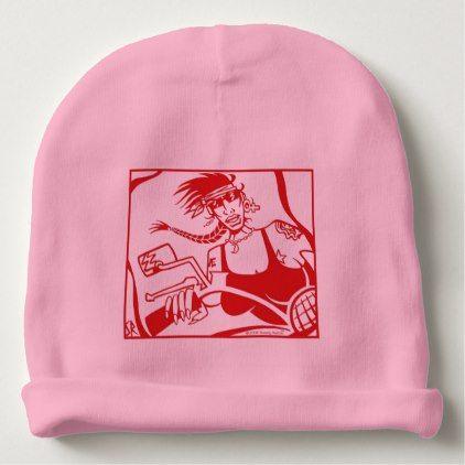Woman Biker Inside Red pink baby biker girl beanie - accessories accessory gift idea stylish unique custom