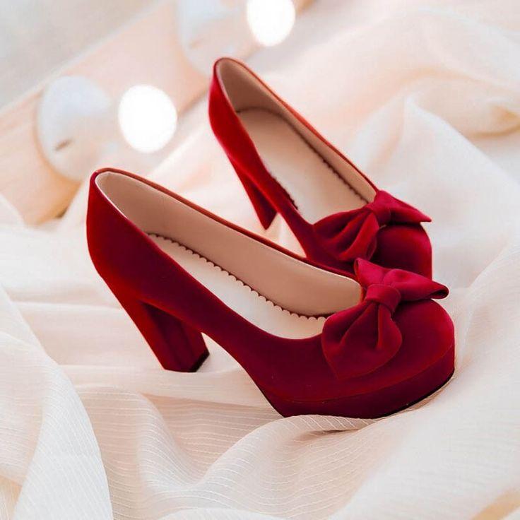 2017 New Plus Size Black Red Blue Pumps High-heeled Women Shoes Wedding High heels Low-top Platform Single Women Shoes 43 ZK1.5