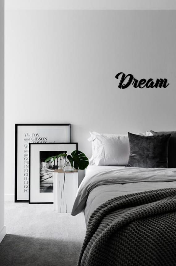 Dream Metal Word Wall Art Home Decor Metal Letters Hanging Etsy Bedroom Interior Minimalism Interior Minimal Bedroom