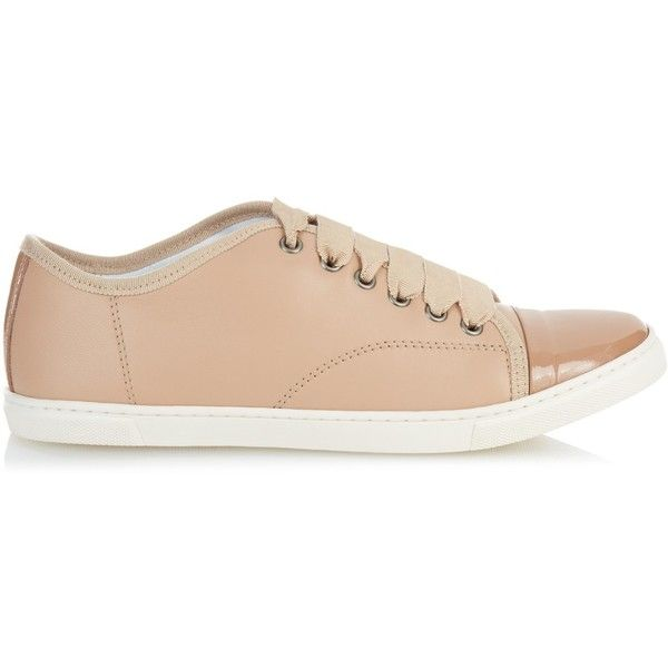 Lanvin Capped-toe leather low-top trainers ($290) ❤ liked on Polyvore featuring shoes, sneakers, nude, cap toe shoes, ballet pumps, ballerina shoes, nude leather shoes and ballet flat shoes