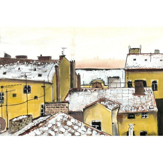 Rooftops in Prague  5 x 7 by artquirk on Etsy