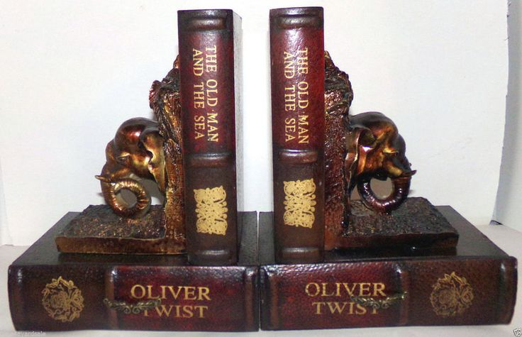 Pair of Elephant Head & Classic Books Bookends w Hidden Storage Drawers  #Unbranded #Traditional #Bookends