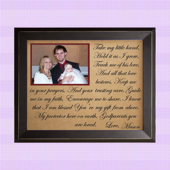 Gift for Godparents / Baptism / Take My Hand / Personalized Picture Frame Gift on Etsy, $62.00