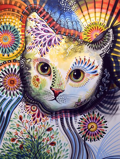 Lucy ... Abstract cat art Art Print