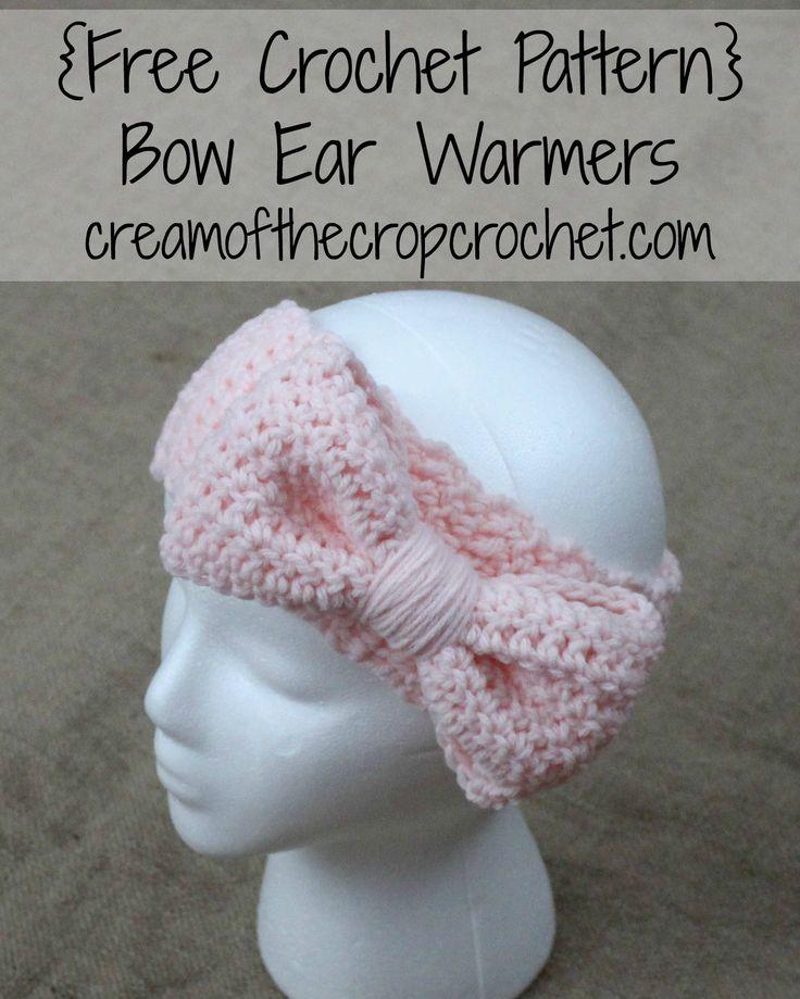 FREE crochet pattern for Bow Ear Warmers by Cream Of The Crop Crochet.