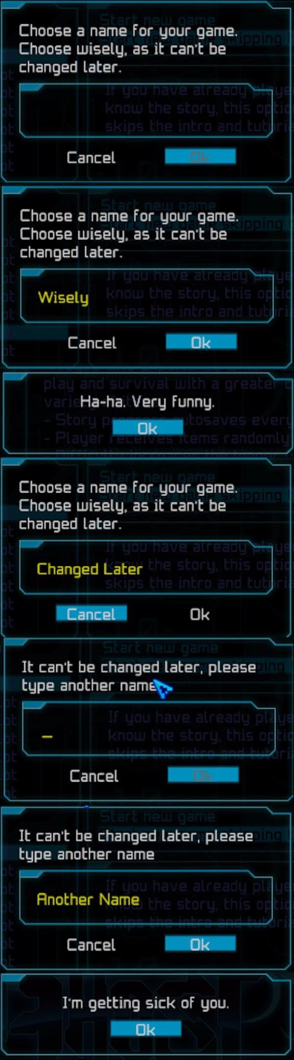 Choose a character name. Choose wisely, as it can't be changed later.
