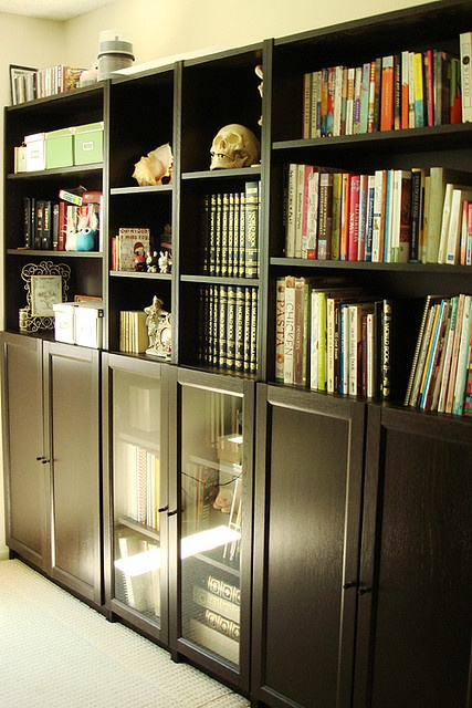 Ikea Billy bookshelves in black-brown. Love!!