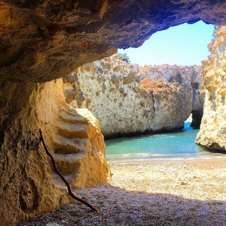 island of Milos (Μήλος)❤ Under the cave of Papfragas beach ! Amazing beaches to explore with crystal-clear water and each of them is unique !!