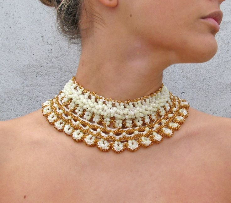 Jewelry / Necklaces  Beadwork Stylish  Romantic Crocheted ivory gold necklace. $128.00, via Etsy.