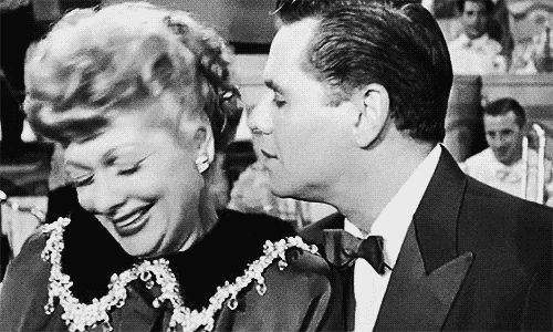 "This is the only scene in all of the I Love Lucy series in which Desi and Lucy shy/turn away from the camera; they were both genuinely crying and it wasn't scripted. The episode is called ""Lucy is Enceinte"" (Lucy is Expecting). This is the scene where Lucy tells Ricky she's pregnant; Lucy was pregnant in real life as well, and that's why it was such an emotional scene for them. My favorite I Love Lucy moment. Click on it to see it pan out!"