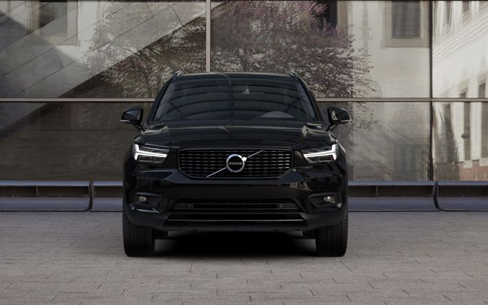 Download wallpapers Volvo XC90, T6, 2018, front view, 4k, black XC90, tuning, Swedish cars, Volvo