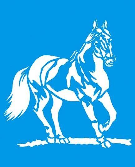 Stencil de Cavalo 17 x 21cm - STM 175 Litoarte - Stencil 17 x 21cm - Stencil ou molde vazado - Empório Janial