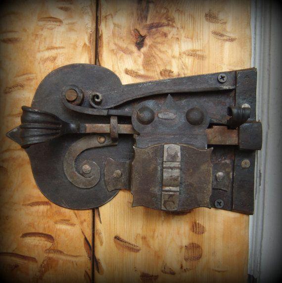 Custom Forged Lock Blacksmith Made Door Lock and Key Hand Forged Crab Lock…