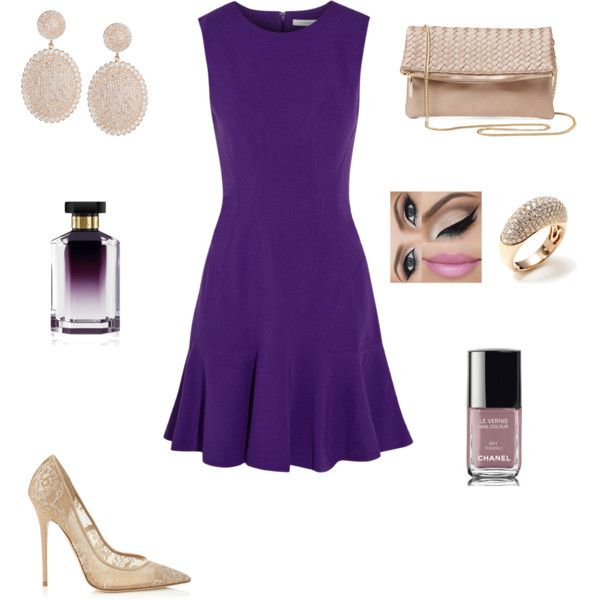 Purple and nude by aliacostac on Polyvore featuring Diane Von Furstenberg, Jimmy Choo, Deux Lux, Vendoro, STELLA McCARTNEY and Chanel