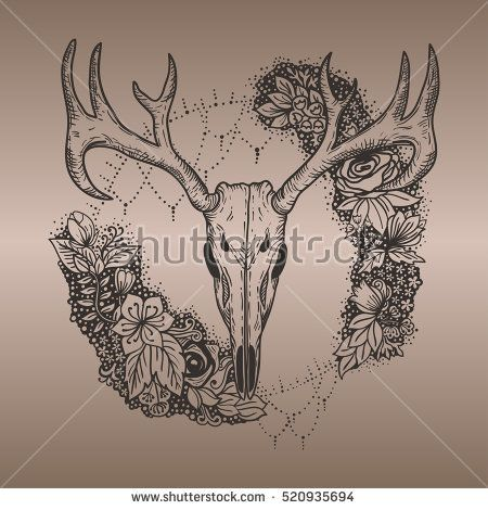 stylized Deer Skull and flowers hand drawn original illustration. design for clothing print, postcards, cards, cover, tattoo design bohemian boho outline style. illustration on gradient background.