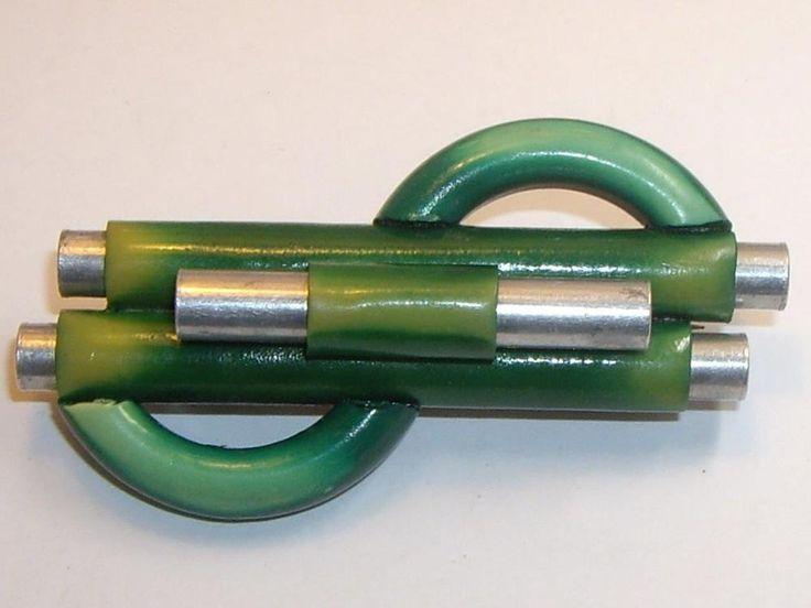 1930's Jakob Bengel Deco Machine Age Chrome Marbled Green Galalith Pin Brooch #JakobBengel