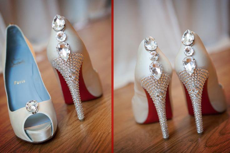 Sparkling Christian Louboutin wedding shoes