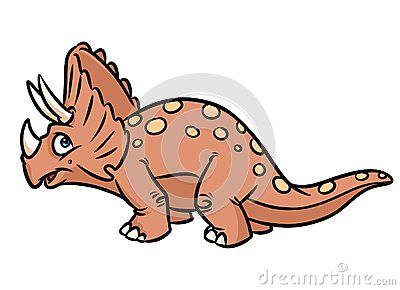 Dinosaur triceratops cartoon illustration isolated image animal character
