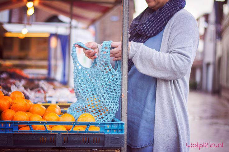 #haken, gratis patroon, Nederlands, shopper van wolplein, boodschappen tas, net, #haakpatroon en Youtube filmpje