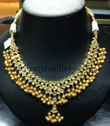 Jewellery Designs: Polki Necklace with Jhumkas