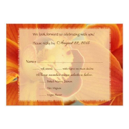 Fall Wedding Menu Orange Orchid Fall Wedding Menu Reply Cards