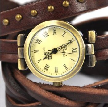 The twist braid winding Rome Leather Wrap Watch Details Product Name:The twist braid winding Rome Leather Wrap Watch-dark brown The details include: a round face with roman numerals, triple-hand quartz movement, a crown to the o'clock, and a leather-look strap with a wrap around design. total ...