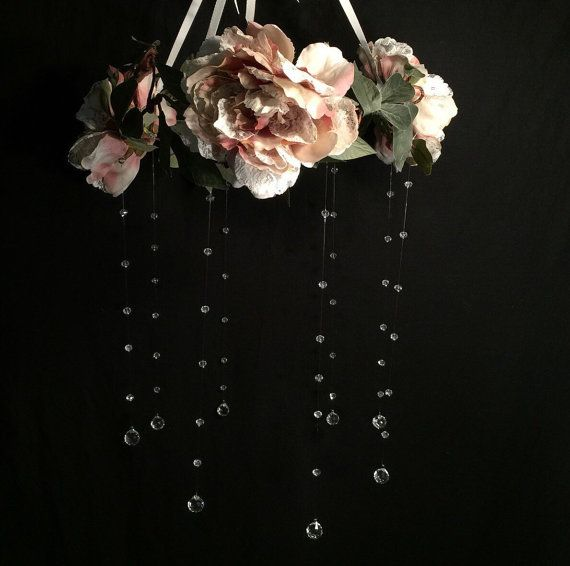 Victorian dusty rose flower crystal baby mobile by C3CreationsLLC
