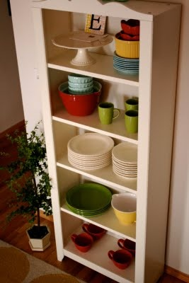 children's bookshelf turned into display shelf for dishes!  Love this idea!: Dining Rooms, Bookshelves, Decor Ideas, Kitchens Stuff, Bookshelf Storage, Kitchens Ideas,  Icebox, Kitchens Storage, Kitchens Organizations