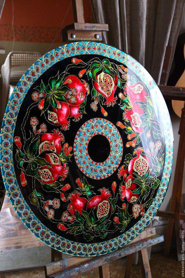 """Купить Стеклянный стол с авторской росписью """" Гранатовый Сад"""" - стол ручной работы, стекло"""