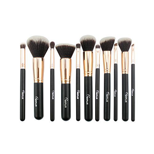 AMarkUp 11pcs Portable Nylon Cosmetic Makeup Brush Set with Brown PU Case ** Click image to review more details.