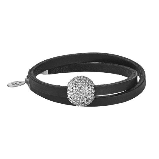 ByBiehl black leather bracelet with 'Sparkle' silver pod