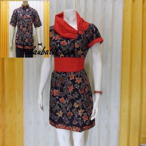 Model batik couple dress dan kemeja pria lengan pendek terbaru online disolo