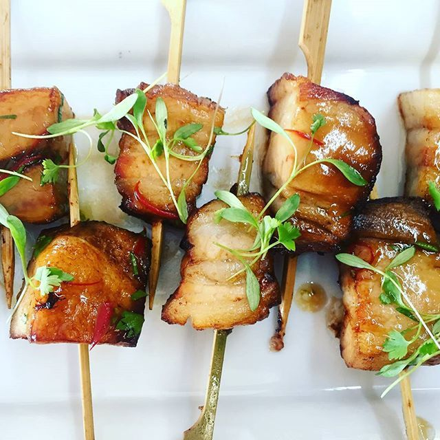 Canapes- sweet and sour pork belly #wigrambaseweddings