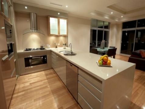 Small Kitchen With Lovely Color