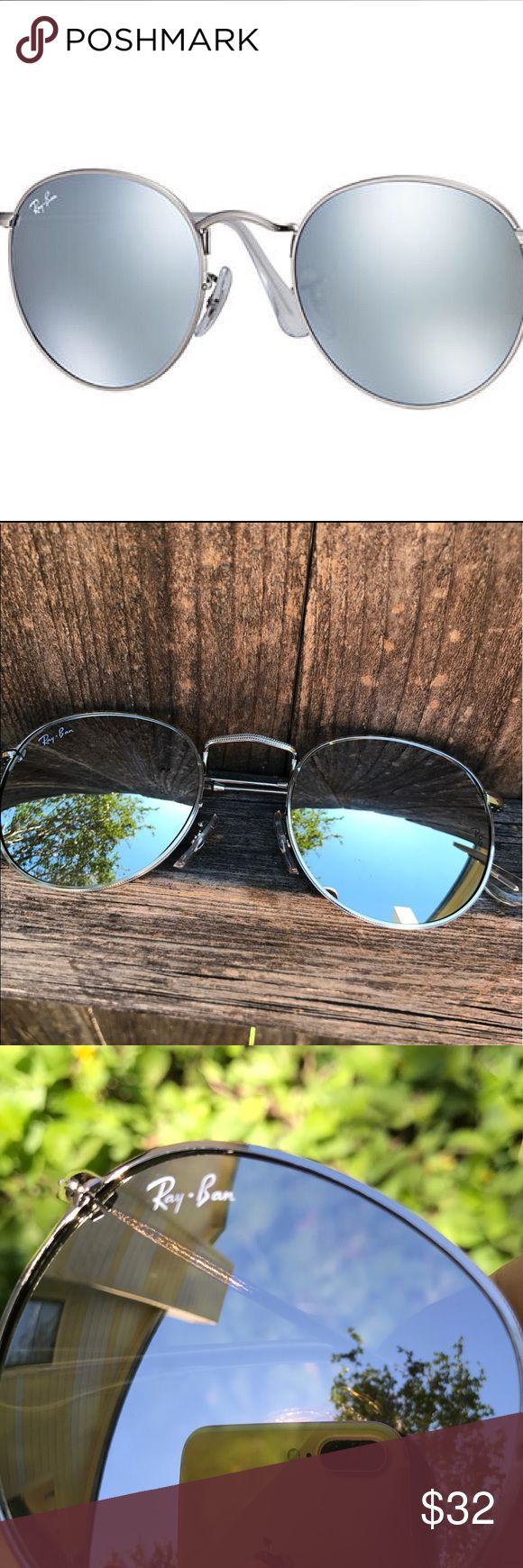 ROUND FLASH LENSES reflective Silver First photo it's just for exposure  New Sunglasses Aviator  Never worn  Ray-Ban inspired sunglasses  PRICE FIRM! NOT TRADE Not box  Not case   FAST SHIPPING! Ray-Ban Accessories Sunglasses